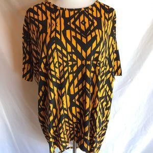 Lularoe Irma Shirt High Low Top Black and Orange